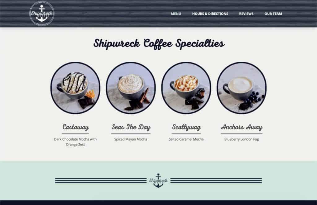 shipwreck coffee website design