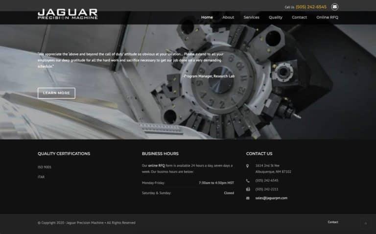 Jaguar Precision Machine website design gallery 2