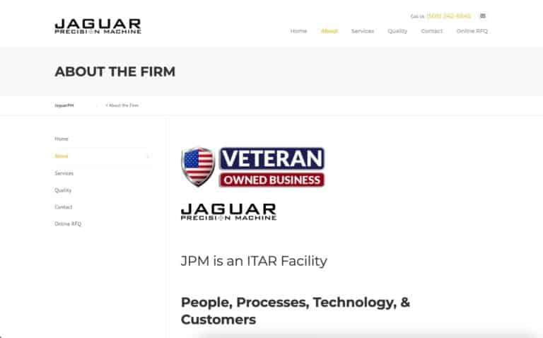 Jaguar Precision Machine website design gallery 3