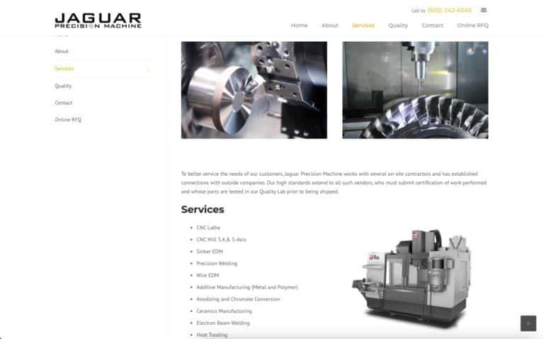 Jaguar Precision Machine website design gallery 4