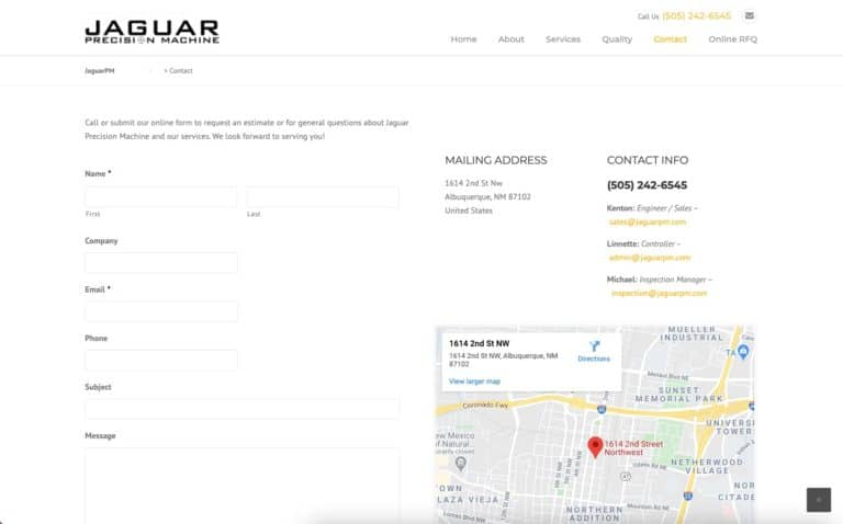 Jaguar Precision Machine website design gallery 5