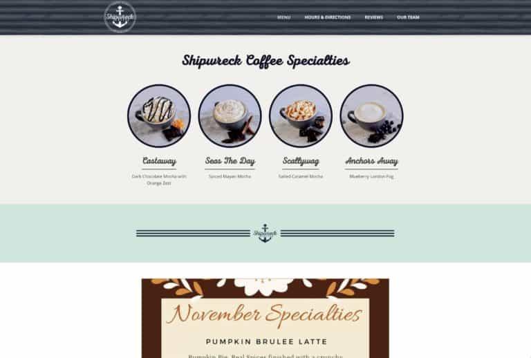 Shipwreck coffee web design gallery 1